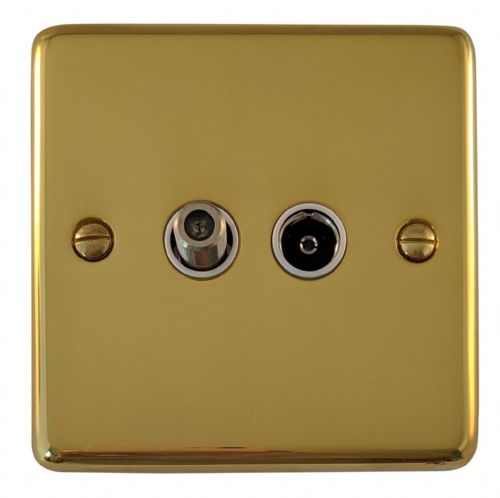 G&H CB38W Standard Plate Polished Brass 1 Gang TV Coax & Satellite Socket Point